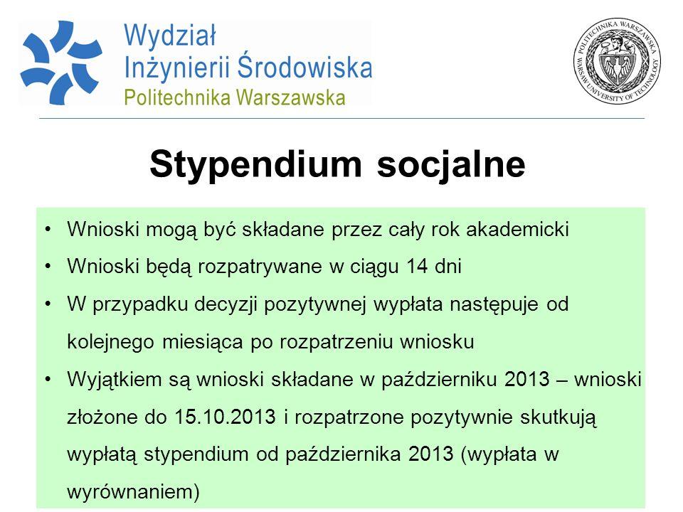 Stypendium socjalne Wnioski mogą być składane przez cały rok akademicki. Wnioski będą rozpatrywane w ciągu 14 dni.