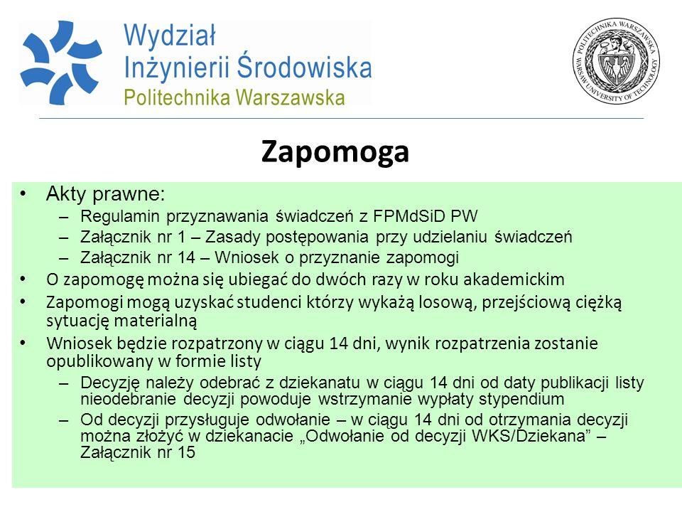 Zapomoga Akty prawne: Regulamin przyznawania świadczeń z FPMdSiD PW. Załącznik nr 1 – Zasady postępowania przy udzielaniu świadczeń.