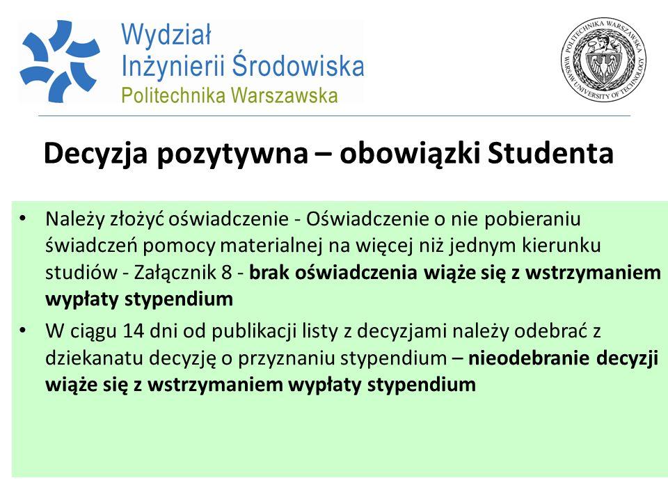 Decyzja pozytywna – obowiązki Studenta