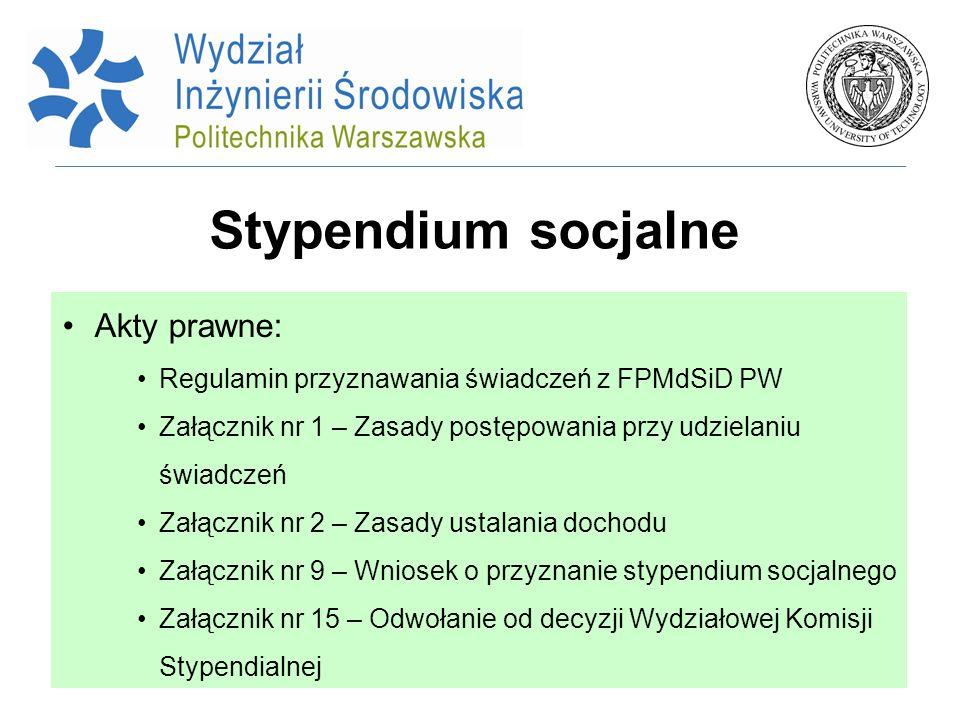 Stypendium socjalne Akty prawne: