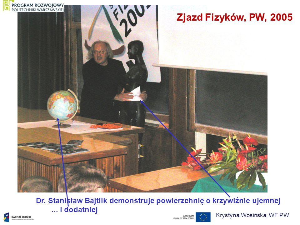 Dr. Stanisław Bajtlik demonstruje powierzchnię o krzywiźnie ujemnej