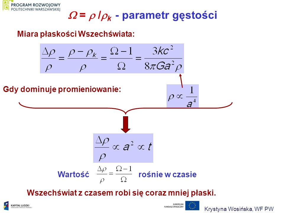  =  /k - parametr gęstości Miara płaskości Wszechświata: