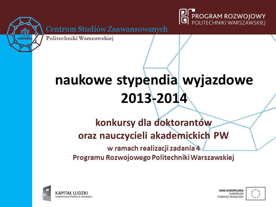 naukowe stypendia wyjazdowe 2013-2014