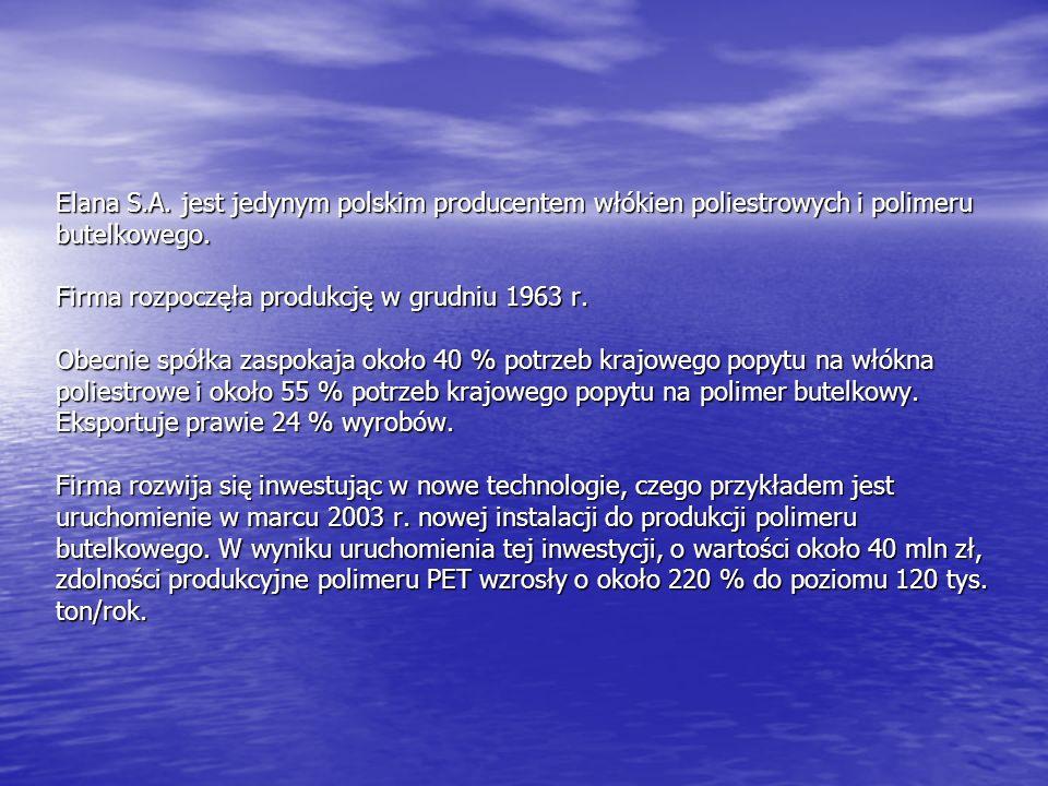 Elana S.A. jest jedynym polskim producentem włókien poliestrowych i polimeru butelkowego.