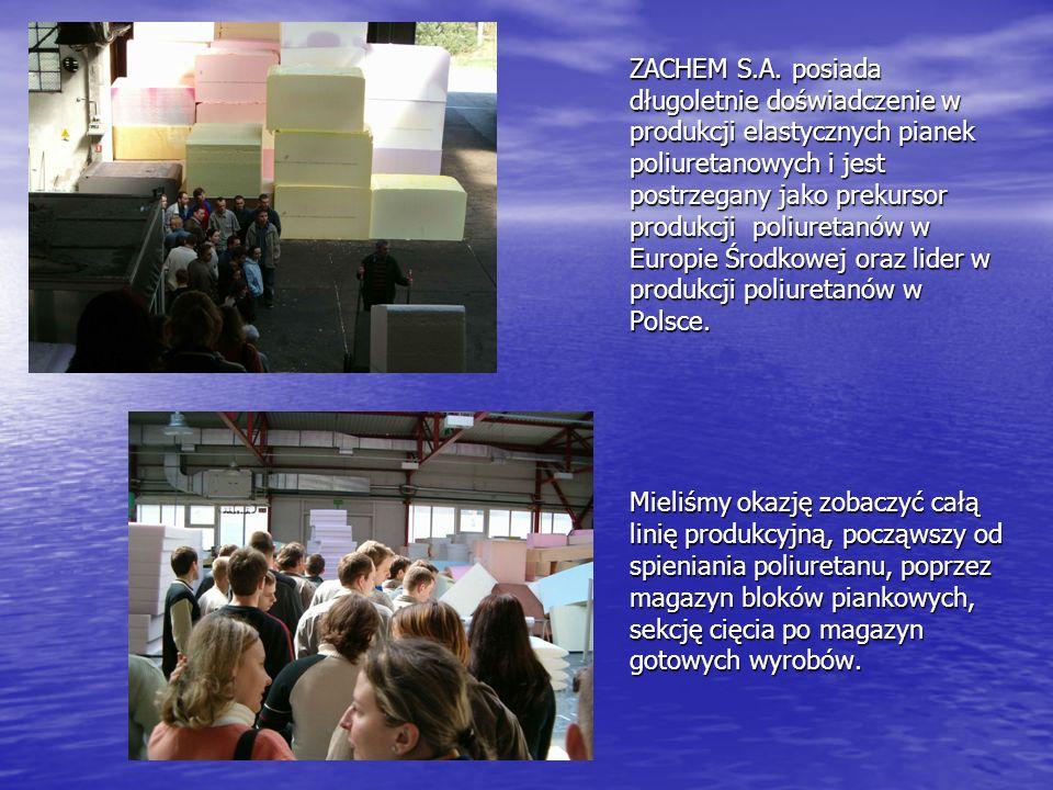 ZACHEM S.A. posiada długoletnie doświadczenie w produkcji elastycznych pianek poliuretanowych i jest postrzegany jako prekursor produkcji poliuretanów w Europie Środkowej oraz lider w produkcji poliuretanów w Polsce.