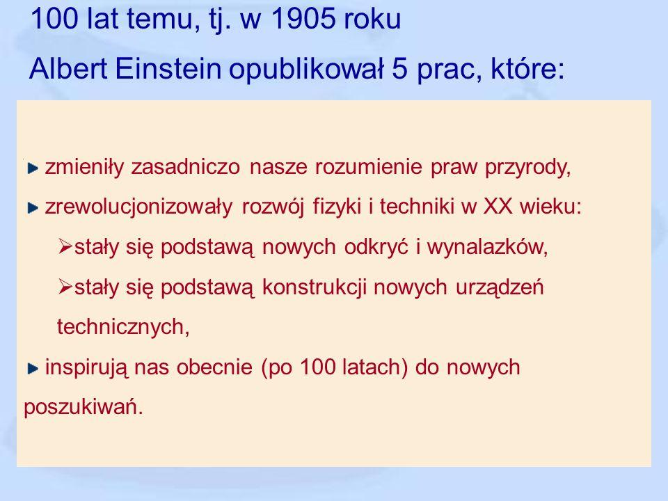 Albert Einstein opublikował 5 prac, które: