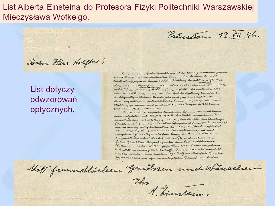 List Alberta Einsteina do Profesora Fizyki Politechniki Warszawskiej