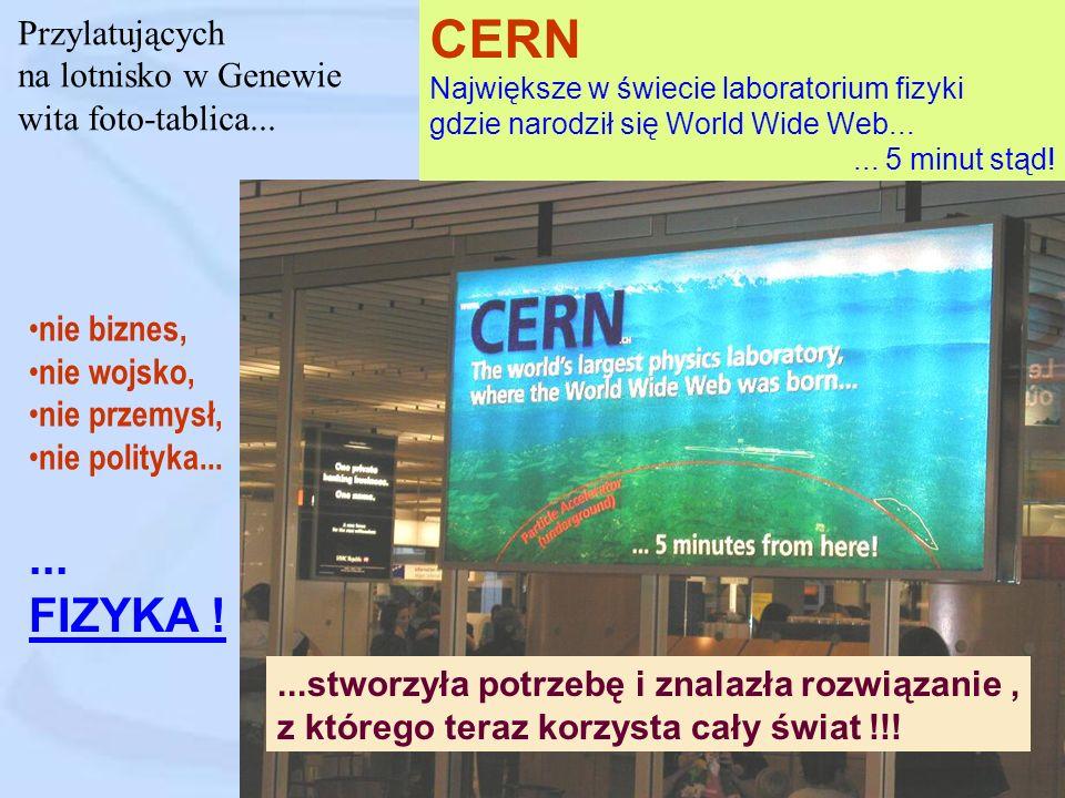 CERN ... FIZYKA ! Przylatujących na lotnisko w Genewie