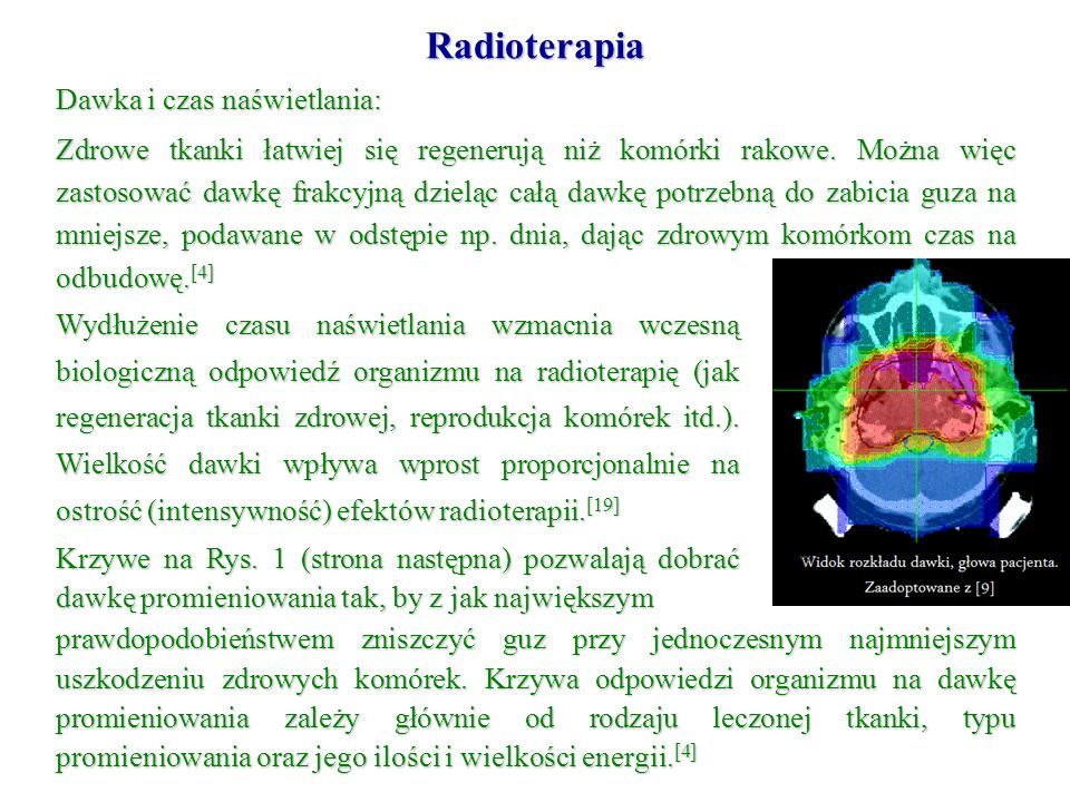 Radioterapia Dawka i czas naświetlania: