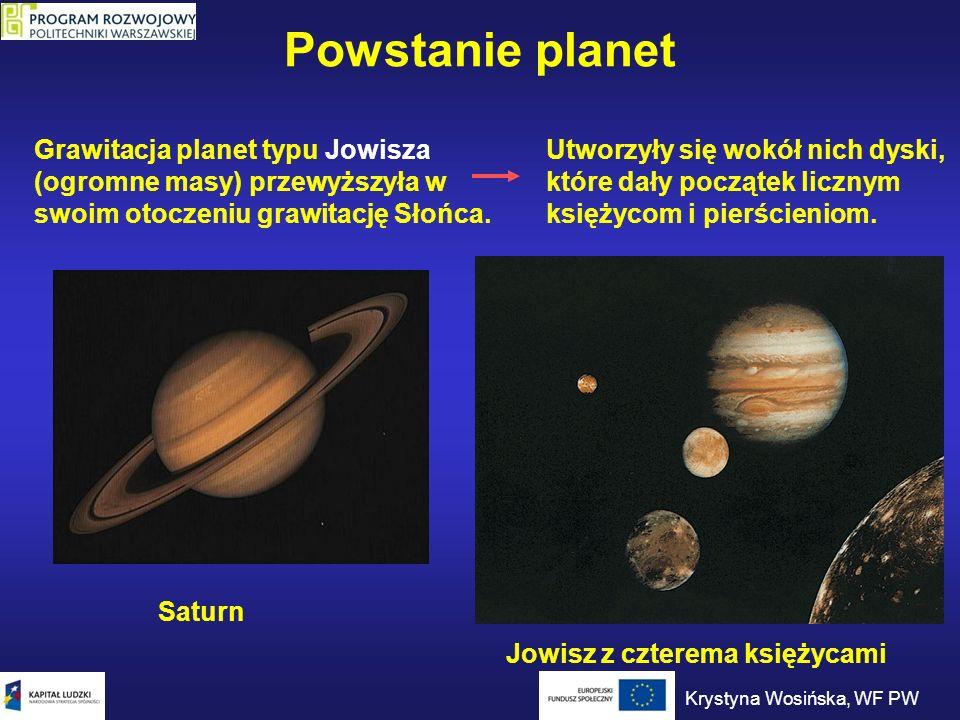 Powstanie planet Grawitacja planet typu Jowisza (ogromne masy) przewyższyła w swoim otoczeniu grawitację Słońca.
