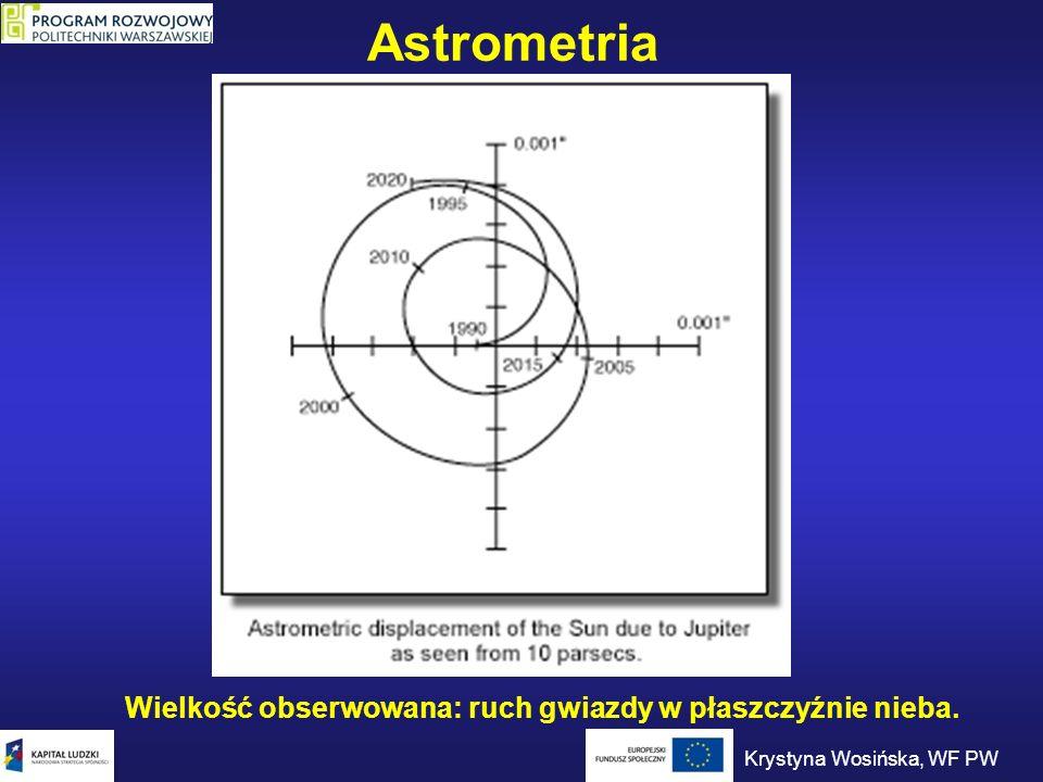 Astrometria Wielkość obserwowana: ruch gwiazdy w płaszczyźnie nieba.