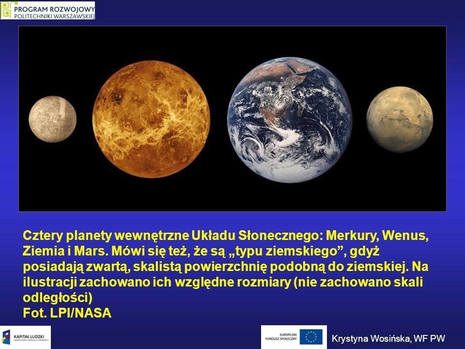 """Cztery planety wewnętrzne Układu Słonecznego: Merkury, Wenus, Ziemia i Mars. Mówi się też, że są """"typu ziemskiego , gdyż posiadają zwartą, skalistą powierzchnię podobną do ziemskiej. Na ilustracji zachowano ich względne rozmiary (nie zachowano skali odległości) Fot. LPI/NASA"""