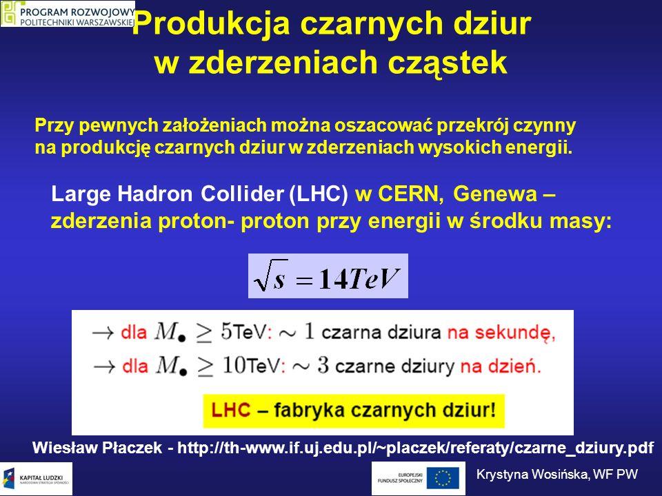 Produkcja czarnych dziur w zderzeniach cząstek