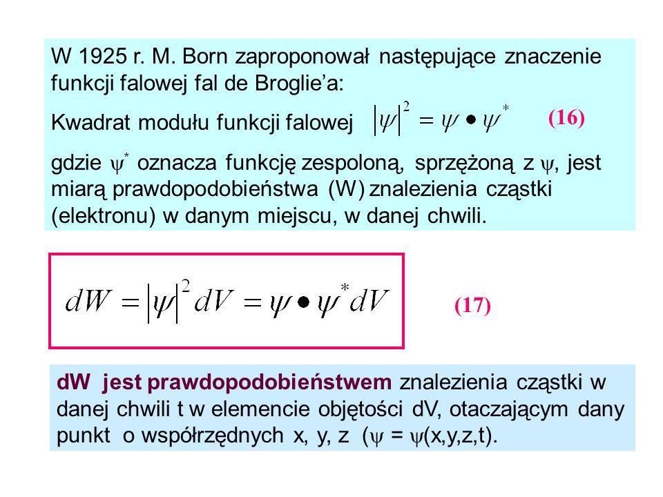 W 1925 r. M. Born zaproponował następujące znaczenie funkcji falowej fal de Broglie'a: