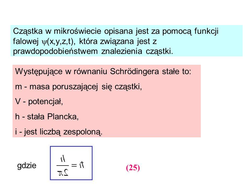 Cząstka w mikroświecie opisana jest za pomocą funkcji falowej (x,y,z,t), która związana jest z prawdopodobieństwem znalezienia cząstki.