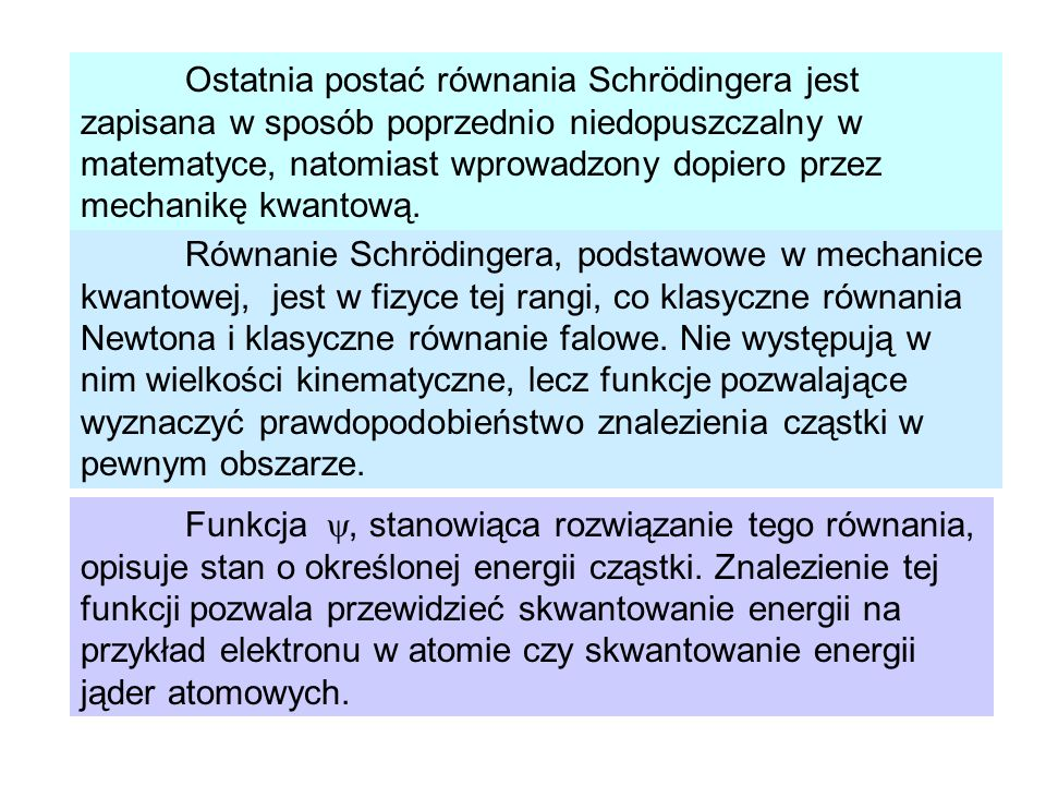 Ostatnia postać równania Schrödingera jest zapisana w sposób poprzednio niedopuszczalny w matematyce, natomiast wprowadzony dopiero przez mechanikę kwantową.