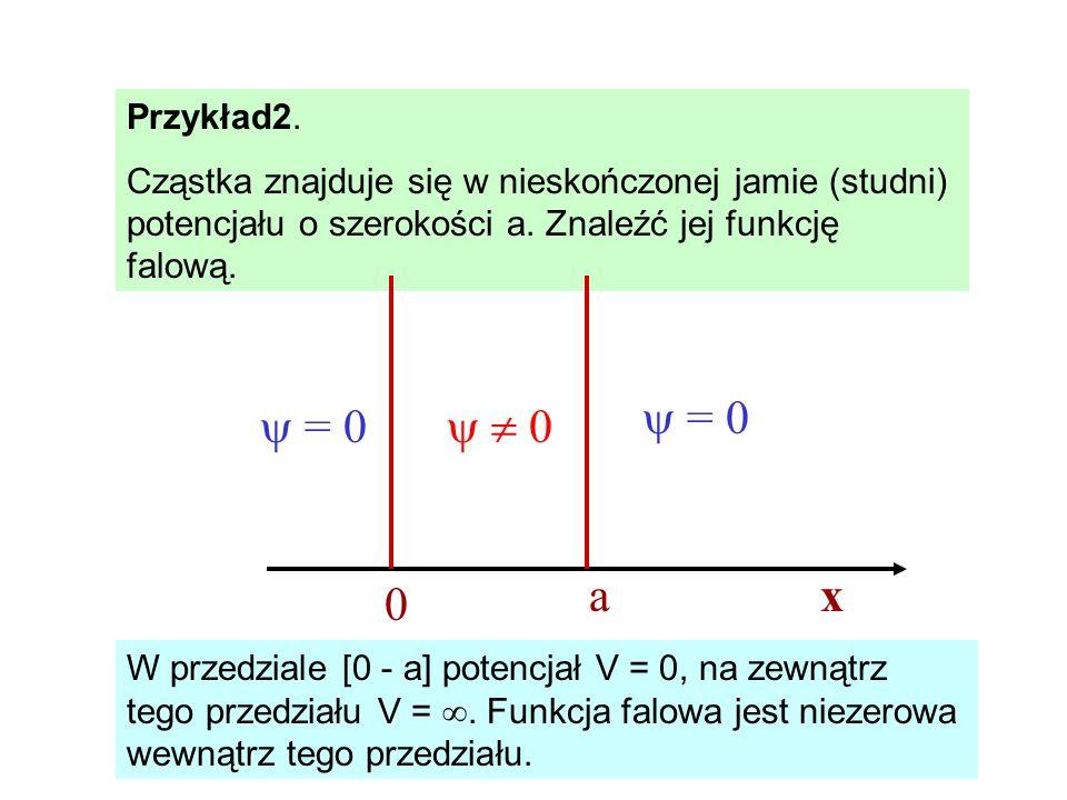 Przykład2. Cząstka znajduje się w nieskończonej jamie (studni) potencjału o szerokości a. Znaleźć jej funkcję falową.