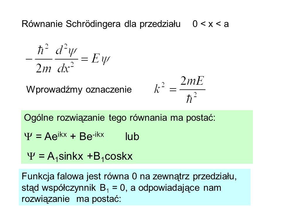  = Aeikx + Be-ikx lub  = A1sinkx +B1coskx