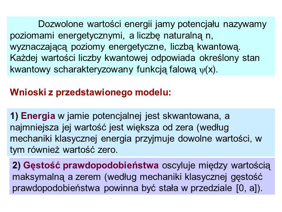 Dozwolone wartości energii jamy potencjału nazywamy poziomami energetycznymi, a liczbę naturalną n, wyznaczającą poziomy energetyczne, liczbą kwantową. Każdej wartości liczby kwantowej odpowiada określony stan kwantowy scharakteryzowany funkcją falową (x).