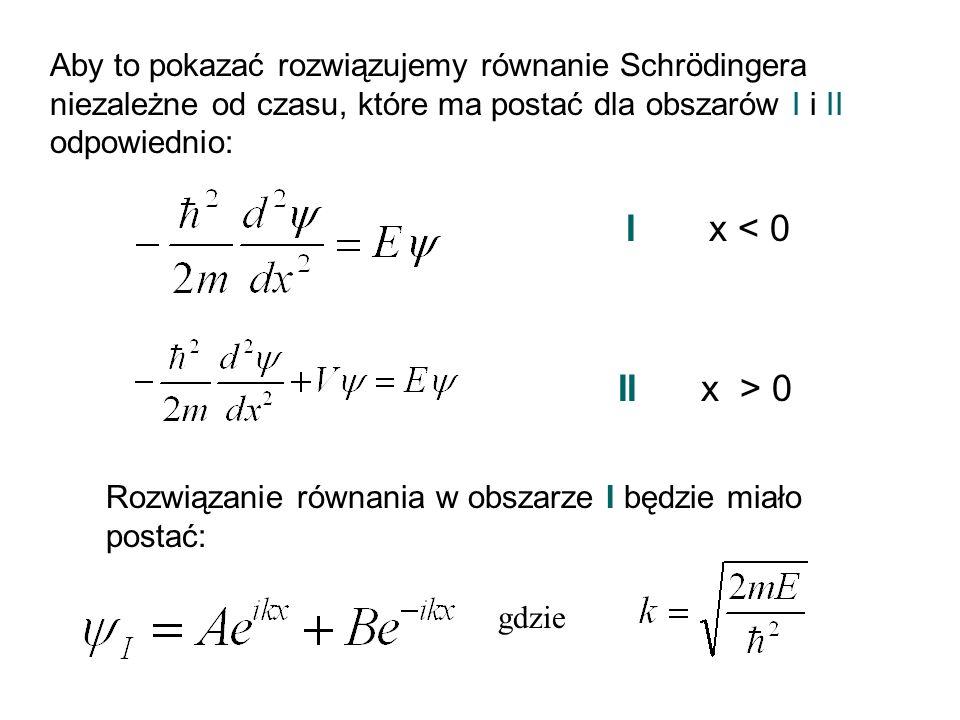 Aby to pokazać rozwiązujemy równanie Schrödingera niezależne od czasu, które ma postać dla obszarów I i II odpowiednio: