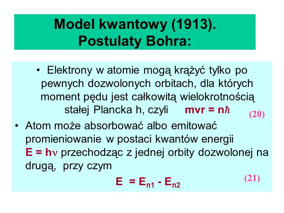 Model kwantowy (1913). Postulaty Bohra: