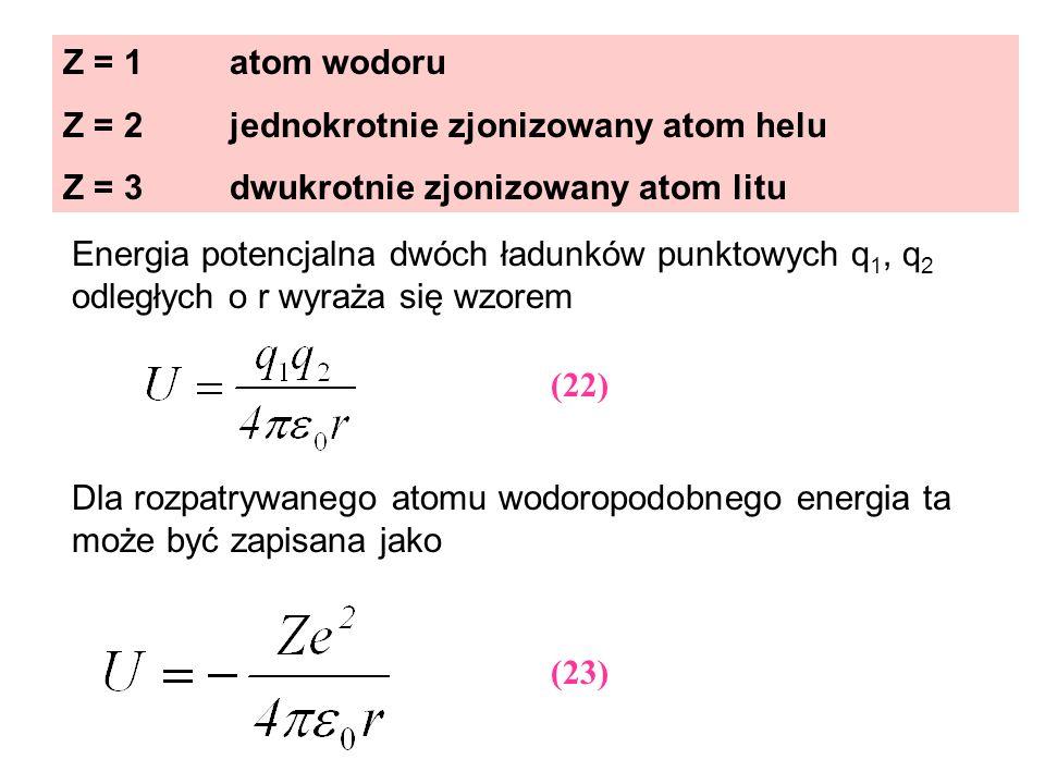 Z = 1 atom wodoru Z = 2 jednokrotnie zjonizowany atom helu. Z = 3 dwukrotnie zjonizowany atom litu.