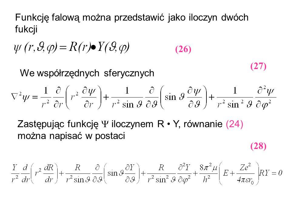 Funkcję falową można przedstawić jako iloczyn dwóch fukcji