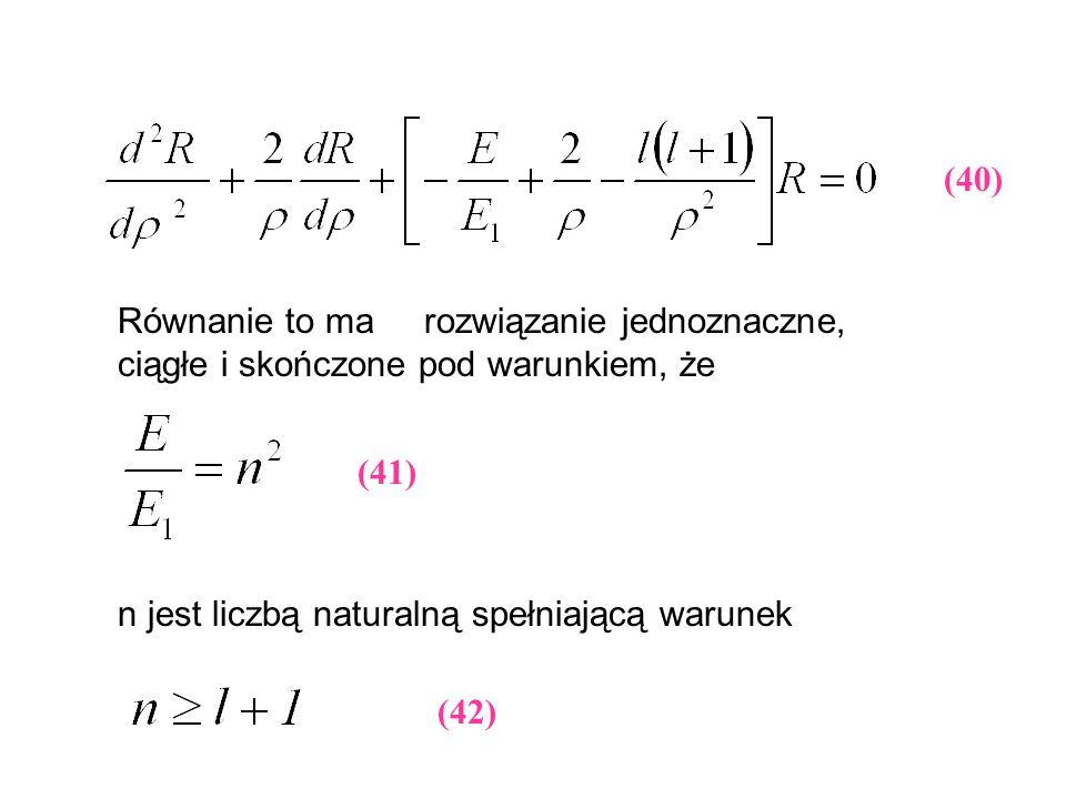 (40) Równanie to ma rozwiązanie jednoznaczne, ciągłe i skończone pod warunkiem, że. (41) n jest liczbą naturalną spełniającą warunek.