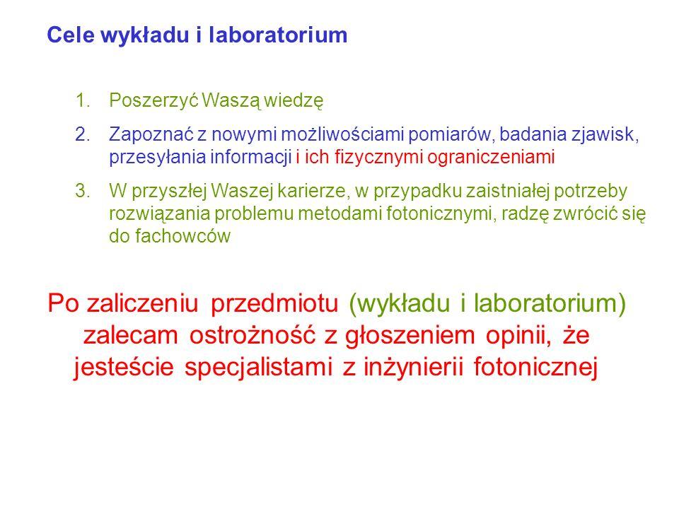 Cele wykładu i laboratorium