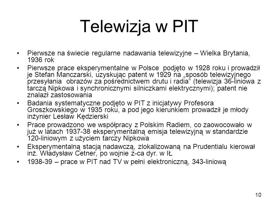 Telewizja w PITPierwsze na świecie regularne nadawania telewizyjne – Wielka Brytania, 1936 rok.