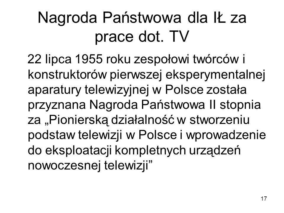 Nagroda Państwowa dla IŁ za prace dot. TV