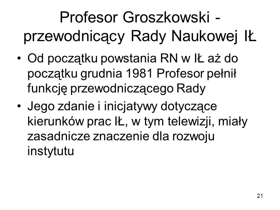 Profesor Groszkowski - przewodnicący Rady Naukowej IŁ