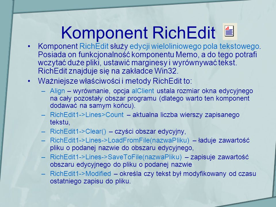 Komponent RichEdit