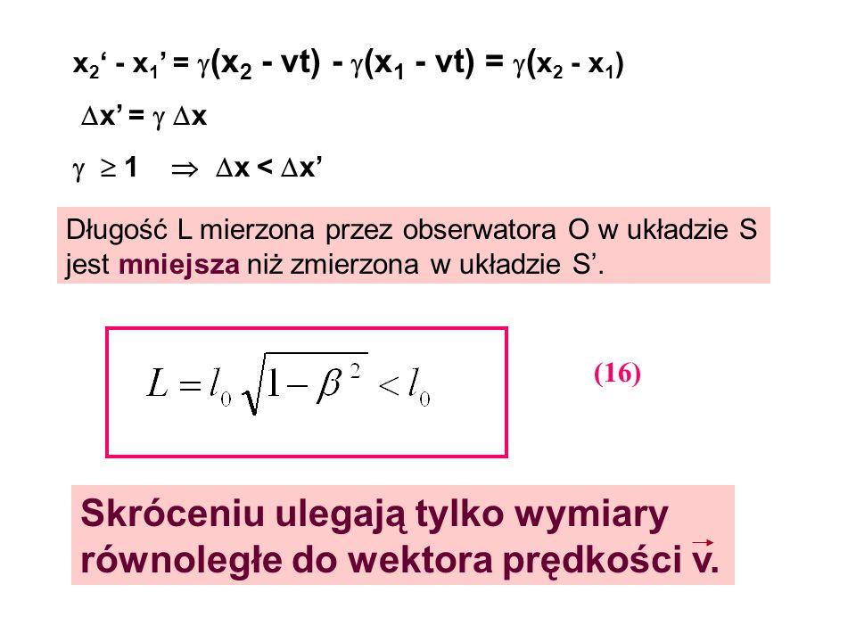 Skróceniu ulegają tylko wymiary równoległe do wektora prędkości v.