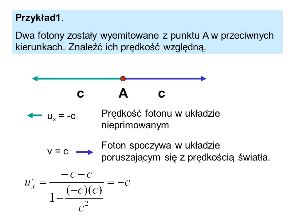 Przykład1. Dwa fotony zostały wyemitowane z punktu A w przeciwnych kierunkach. Znaleźć ich prędkość względną.