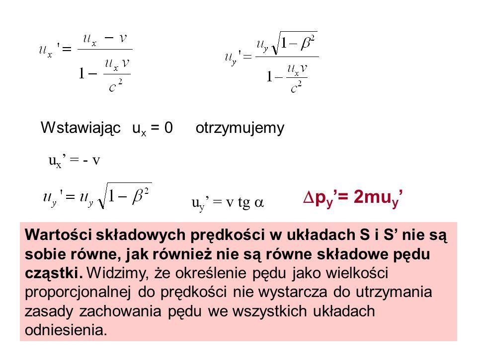 py'= 2muy' Wstawiając ux = 0 otrzymujemy ux' = - v uy' = v tg 