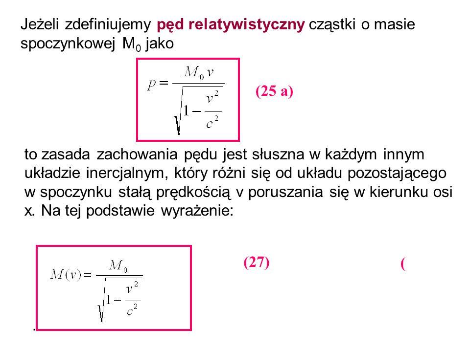 Jeżeli zdefiniujemy pęd relatywistyczny cząstki o masie spoczynkowej M0 jako