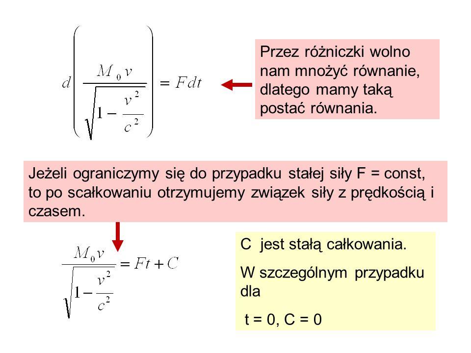 Przez różniczki wolno nam mnożyć równanie, dlatego mamy taką postać równania.