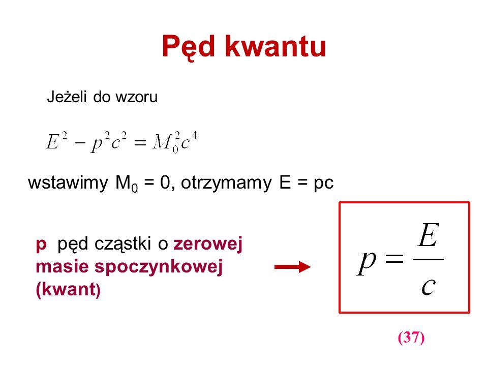 Pęd kwantu wstawimy M0 = 0, otrzymamy E = pc