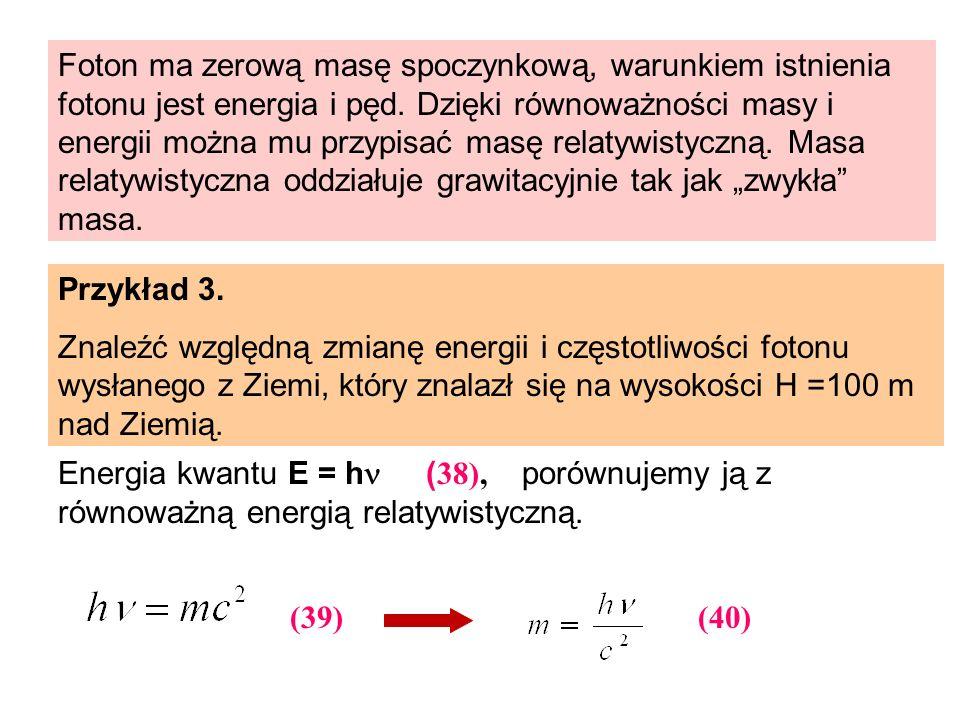 """Foton ma zerową masę spoczynkową, warunkiem istnienia fotonu jest energia i pęd. Dzięki równoważności masy i energii można mu przypisać masę relatywistyczną. Masa relatywistyczna oddziałuje grawitacyjnie tak jak """"zwykła masa."""