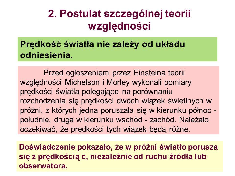 2. Postulat szczególnej teorii względności