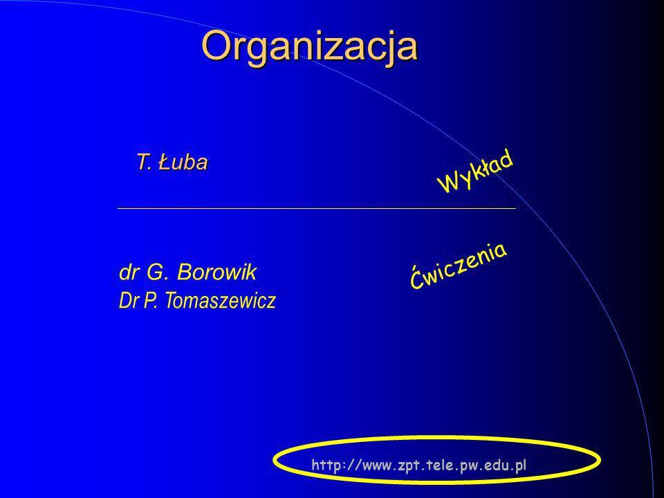 Organizacja Wykład Ćwiczenia dr G. Borowik Dr P. Tomaszewicz T. Łuba