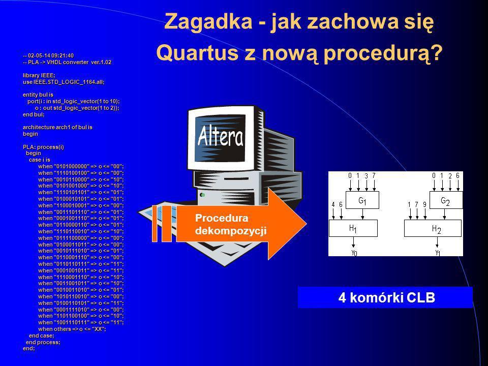 Zagadka - jak zachowa się Quartus z nową procedurą