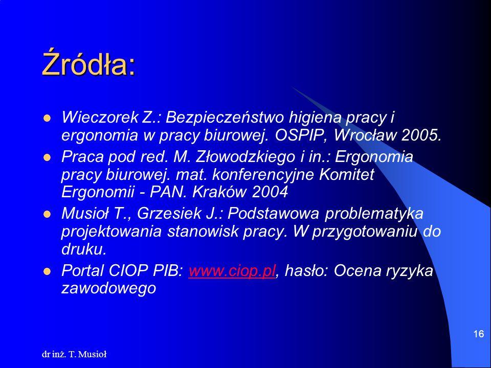 Źródła: Wieczorek Z.: Bezpieczeństwo higiena pracy i ergonomia w pracy biurowej. OSPIP, Wrocław 2005.
