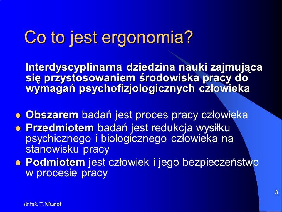 Co to jest ergonomia Interdyscyplinarna dziedzina nauki zajmująca się przystosowaniem środowiska pracy do wymagań psychofizjologicznych człowieka.