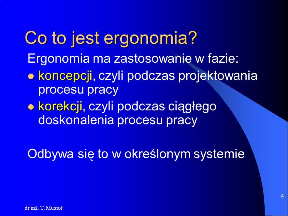 Co to jest ergonomia Ergonomia ma zastosowanie w fazie: