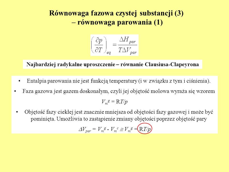 Równowaga fazowa czystej substancji (3) – równowaga parowania (1)