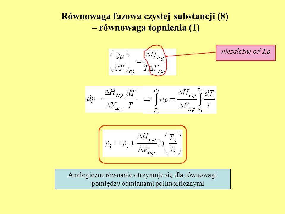 Równowaga fazowa czystej substancji (8) – równowaga topnienia (1)