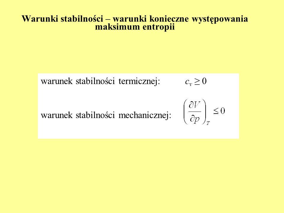 Warunki stabilności – warunki konieczne występowania maksimum entropii