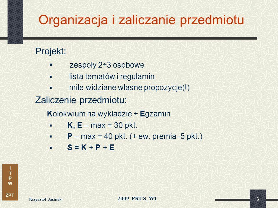 Organizacja i zaliczanie przedmiotu